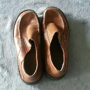 Earth Shoe Brown Leather Slip On Loafers